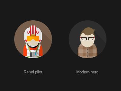 Rebel Pilot modern nerd photograph avatar flat sw rebel pilot red leader x-wing pilot