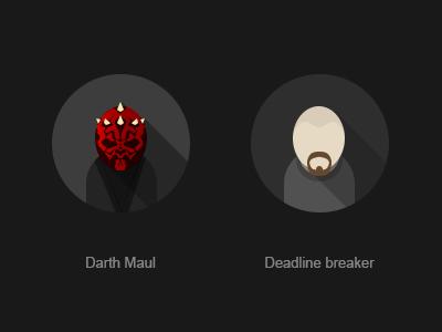 Darth Maul darth maul spike-head sw flat avatar deadline breaker ui designer