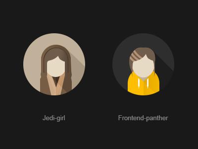 Jedi-girl jedi jedi-girl sw flat avatar frontend developer panther bagira