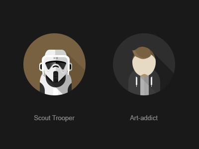 Scout Trooper scout trooper scout-trooper sw flat avatar art-addict designer illustrator