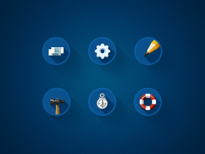 Some icons for our landing page icons teasers money settings gear pencil hummer clock