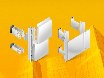 Illustration for Alukom group website illustration alukom panel construction yellow building icon