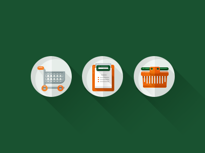 Icon set icon e-commerce busket green orange flat longshadow