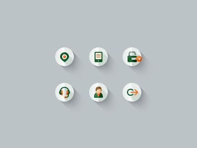 Icon set flat icon longshadow green orange e-commerce