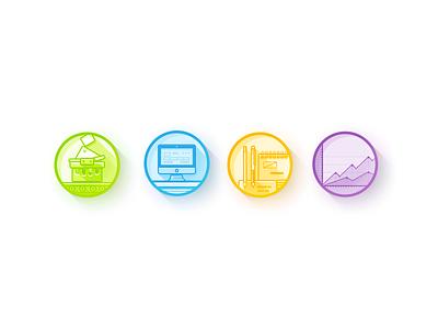 Icon set icons flat green blue yellow pink imac graphics stylus