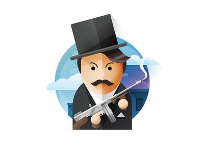 Man with gun flat gunner mafia design man smoke tophat