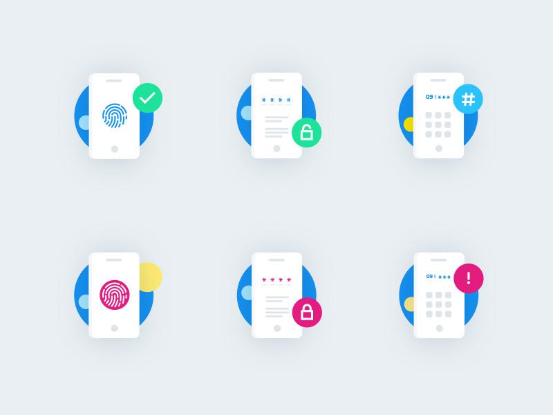 Icons for ISP APP ui app number password branding lock fingerprint illustrator phone app phone isp icons