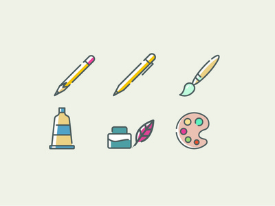 Art Supply Icons icons graphic design brand mobile ios identity branding ui ux website flat minimal illustration vector logo design web app icon
