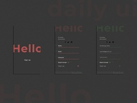 hello app sign up