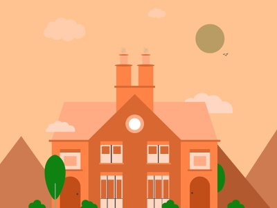 House Illustrations brown design illustration vector tree hills drawing illustraion