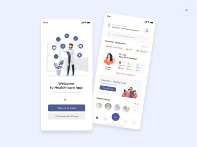 Healthcare Mobile App web ui app animation minimal icon mobile ui logo illustration ux branding vector typography design