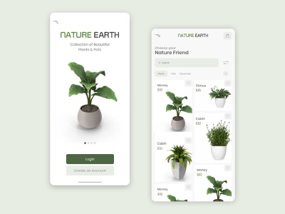 Nature Earth Mobile UI (e-Commerce) branding ux  ui uidesign uiux app design mobile app web website app ux ui typography mobile ui