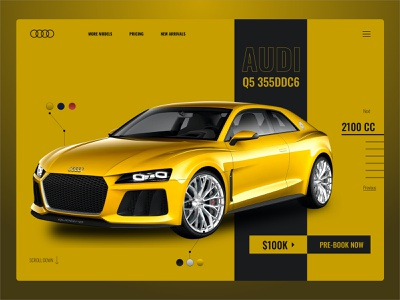 Audi Q5 355 minimal vector ux web icon design black grey yellow ui branding typography