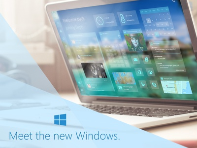 Meet the new Windows. (Windows 9) [Free PSD download] windows 9 microsoft ui ux design webdesign debut web