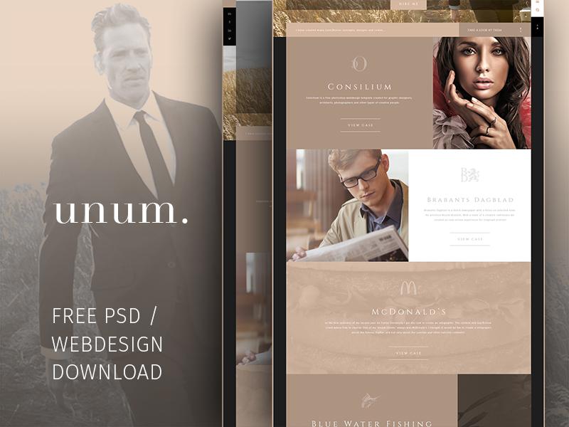 Freebie | UNUM. Free PSD / portfolio template unum personal elegant template portfolio psd free freebie