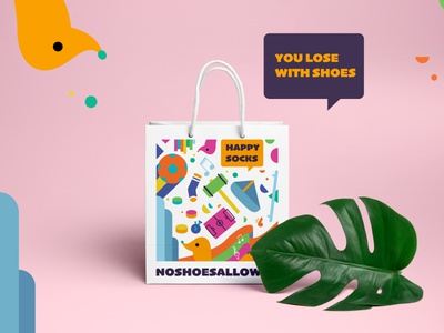 You lose with Shoes - Happy Socks goodybag happy socks no shoes allowed logo illustration packing design graphic design