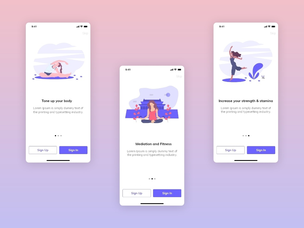 Sample Yoga iOS App Walkthrough Screens by Garima S on Dribbble