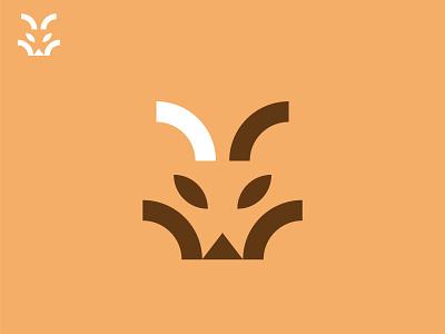 Fox Head head foxy fox black minimal grid branding logodesign design logo