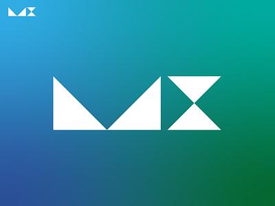 MX x m black minimal grid branding monogram logodesign design logo