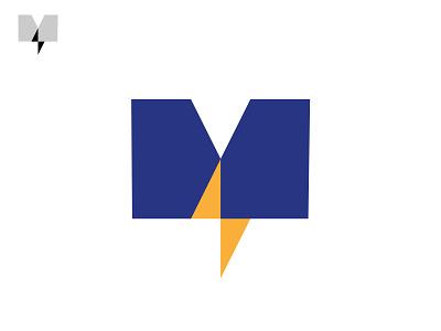 M   Electric m black minimal grid branding monogram logodesign design logo
