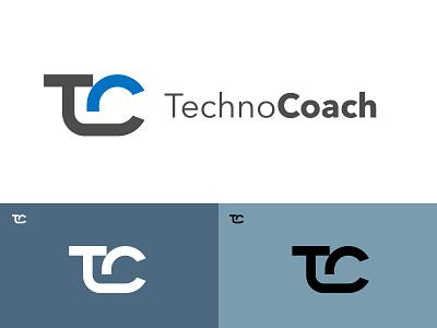 TechnoCoach logo Research grid monogram branding logo