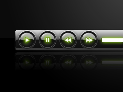 Slick black player player black gloss glossy slick buttons controls glow neon lime