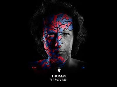 Thomas Verovski Album Cover face cover album blue pink black retouching