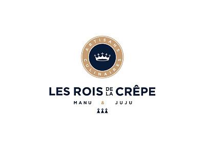 Les Rois de la Crêpe Logo juju manu crown britany bretagne tradition identity logo crepe crêpe