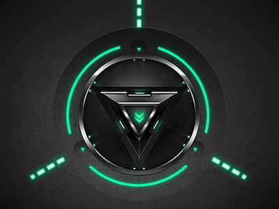 Whaou Effect button button green neon glow dial metal interface slick triangle light