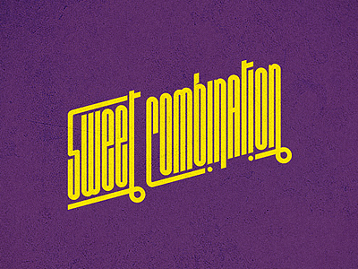 Sweet Combination logo sweet combination sweet combination logo custom font rounded condensed oblique diagonal yellow purple music collective crew
