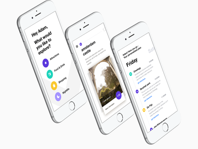 What's in Amsterdam ios iphone interface ux ui minimal tourist select category timeline swipe cards