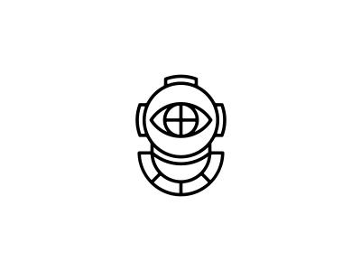 Eye logo illustration diver cyclops