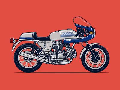 Ducati 900 Super Sport Motorcycle Illustration