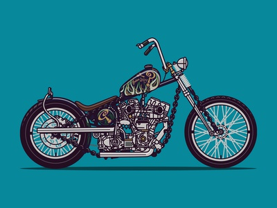 Indian Larry Chain of Mystery Motorcycle Illustration