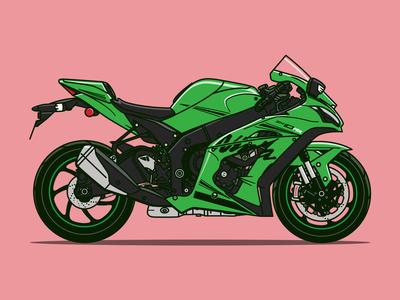 Kawasaki Ninja Motorcycle Illustration
