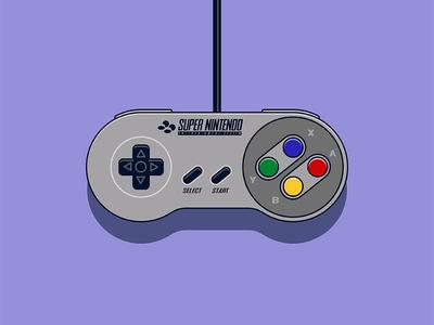 Bold Super Nintendo Controller Illustration