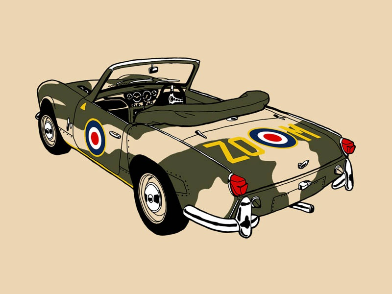 Triumph Spitfire raf air force aeroplane spitfire vintage british sports car triumph classic vehicle car tshirtdesign blipshift illustration