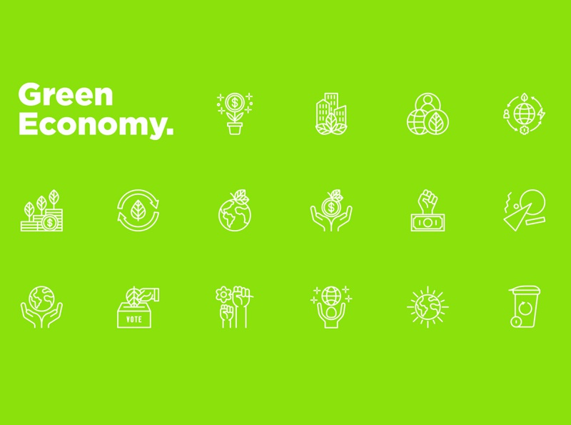 Green Economy | 16 Thin Line Icons Set recycling zero waste energy circular globe planet leaf green city financial growth green economy sign design symbol thin set line illustration vector icon