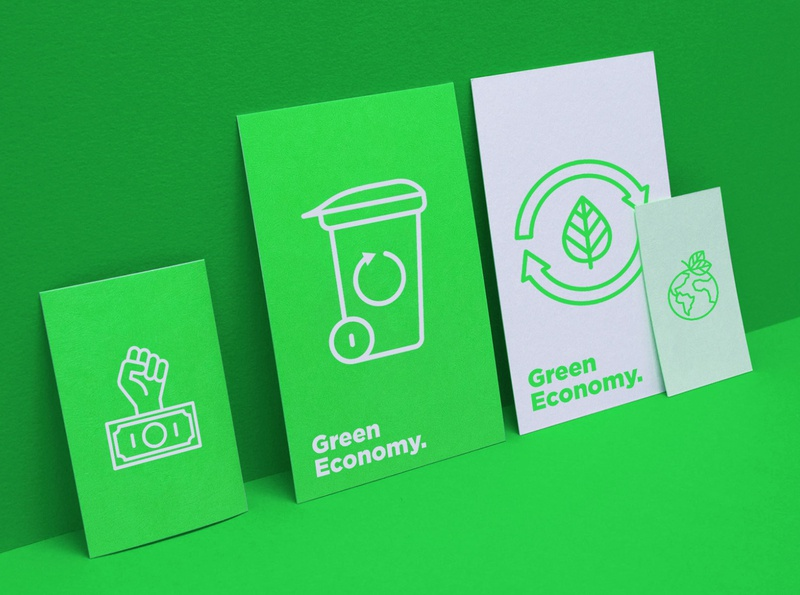 Green Economy | 16 Thin Line Icons feminist hands ecological arrows recycling zero waste energy circular globe planet leaf green city financial growth green economy logo set symbol line icon