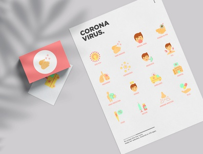 Coronavirus | 16 Flat Icons Set covid pneumonia disease illness quarantine caution contact fever surgical mask medical airborne infection 2019-ncov virus coronavirus symbol set flat icon