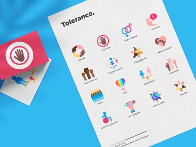 Tolerance | 16 Flat Icons Set stop palm racism caucasion asian flat interracial discrimination gesture respect ethnicity hand heart peace tolerance sign set illustration vector icon