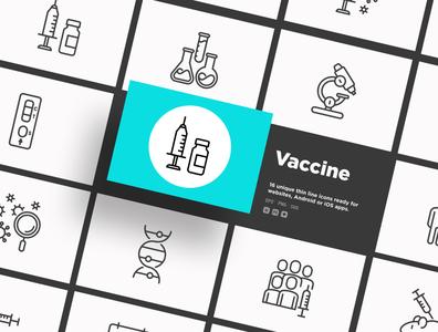 Vaccine | 16 Thin Line Icons set vector illustration inoculation protection immunization vaccination coronavirus virus test healthcare medical microscope vial hand pill ampoule syringe vaccine covid-19