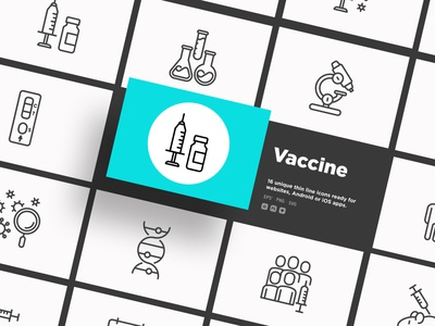 Vaccine | 16 Thin Line Icons set vector illustration inoculation protection immunization vaccination coronavirus virus test healthcare medical microscope vial hand pill ampoule syringe vaccine covid-19