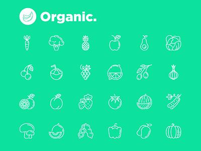 Organic | 25 Thin Line Icons Set sign symbol thin set line illustration icon