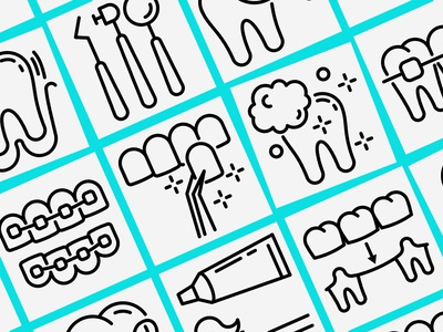 Dentist | 16 Thin Line Icons Set hygiene veneers extraction tooth teeth orthodontics treatment magnifier caries equipment instruments dental dentist symbol sign logo set thin line icon