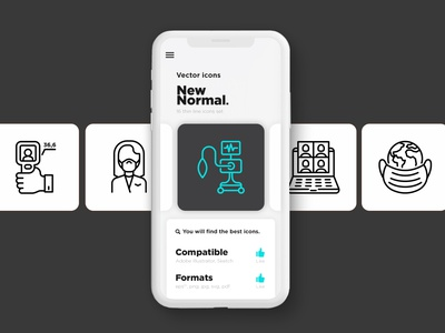 New Normal | 16 Thin Line Icons Set healthcare man elbow greeting temperature thermographic online meeting social distancing medical surgical mask thermal camera thermal scanner new normal vector sign symbol thin set line logo icon