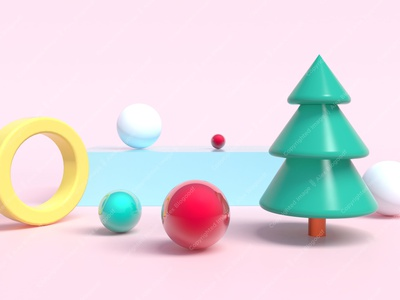 3d rendering, Christmas tree with Christmas balls around. Plasti christmas banner tree reflection e-mail graphic event season greeting concept xmas background new year realistic plastic podium christmas tree 3d 3d rendering
