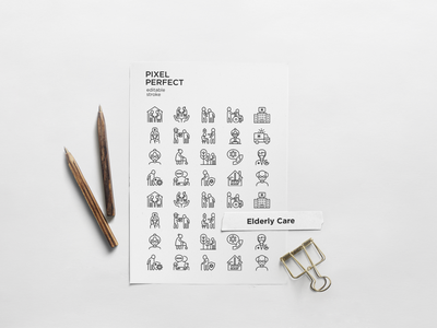 Elderly Care | 20 Pixel Perfect & Editable Stroke Thin Line Icon hospital handicapped wheelchair caregiver living retirement assisted elderly people nursing home care symbol illustration vector sign line thin set icon