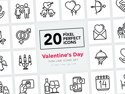 Valentine's Day Pixel Perfect Icons Set calendar gift february heart valentine cupid wedding romantic love valentines day sign design symbol thin set line illustration vector icon