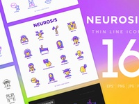 Neurosis | 16 Thin Line Icons Set